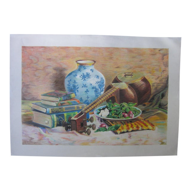 Eastern Culture Realism Colored Pencil Painting For Sale