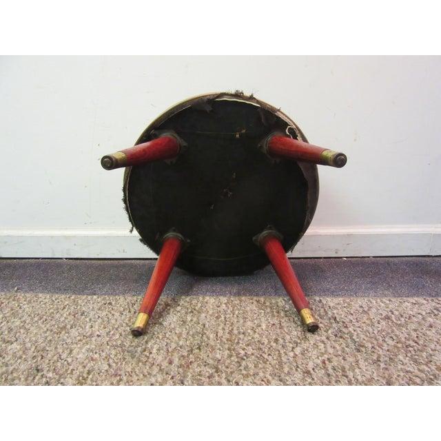Danish Modern Atomic Splayed Legs Vinyl Stool - Image 9 of 11