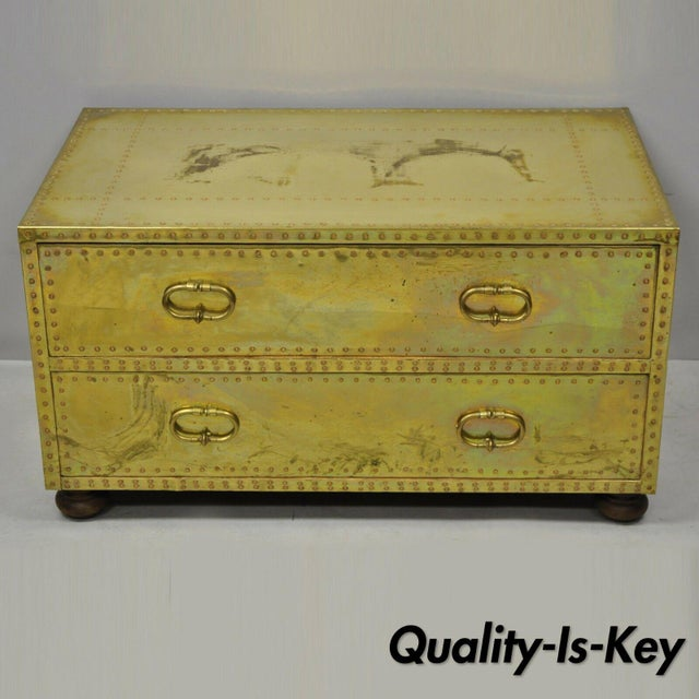 Vintage Sarreid Two Drawer Brass Studded Campaign Style Low Chest of Drawers For Sale - Image 13 of 13