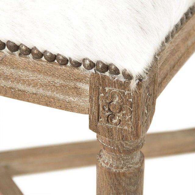 Everest Medallion Cowhide Counter Stool in White For Sale - Image 4 of 5