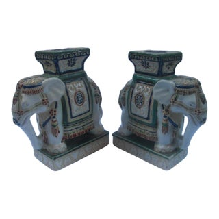 Vintage Chinoiserie Ceramic Elephant Plant Stands - a Pair For Sale