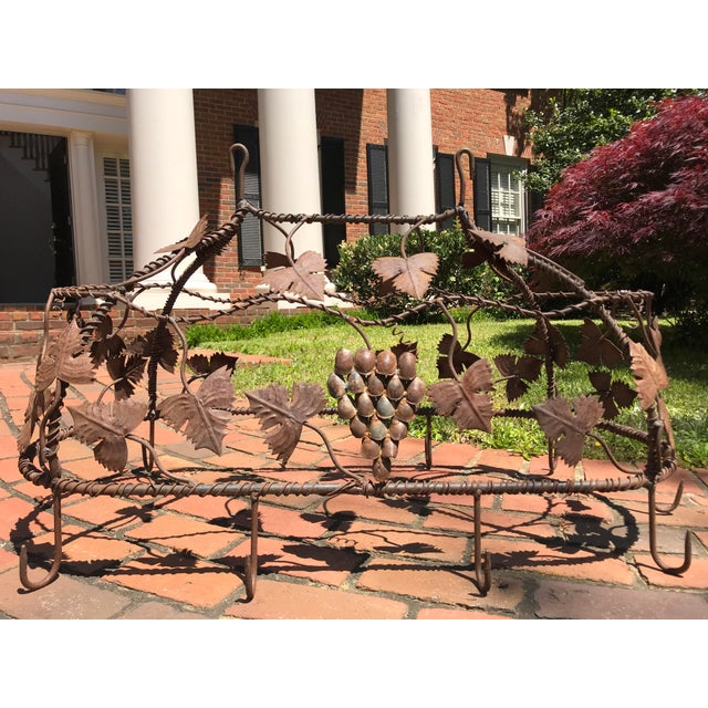 1970s Custom Crafted Enchanting Wrought Iron Grape Vine Pot Rack For Sale - Image 13 of 13