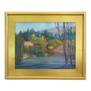 Charming Landscape Oil Painting W/ Pond & Terraced Houses on Hillside