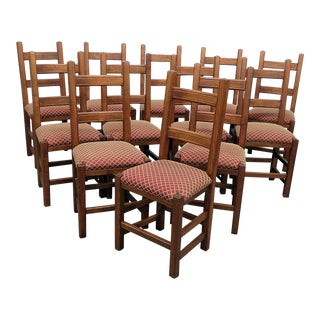 Vintage Mid Century Stickley Style Dining Side Chairs- Set of 12 For Sale