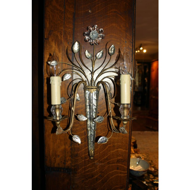 Mid 20th Century Mid Century French Glass & Gilt Metal Icicle Sconces - a Pair For Sale - Image 5 of 7