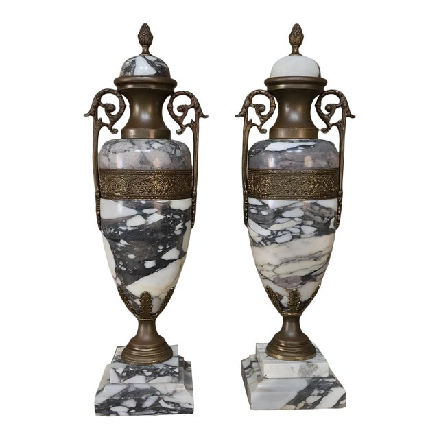 Mantel Urns/Cassolettes, 19th Century French Marble & Bronze - a Pair For Sale