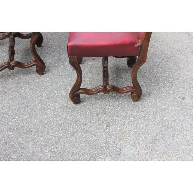 French Louis XIII Style Os De Mouton Red Leather Dining Chairs - Set of 6 For Sale - Image 10 of 13