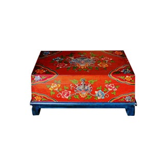Distressed Chinese Tibetan Rectangular Shape Orange Floral Wood Container Preview
