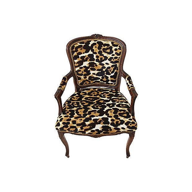 Carved Armchair W/ Cowhide Animal Spots For Sale - Image 9 of 12