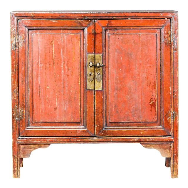 Red Lacquered Chinese Cabinet From Ningbo For Sale
