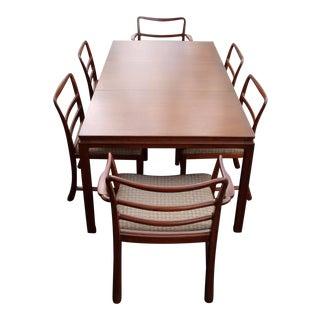 Mid-Century Modern Brown Mahogany Dunbar Extendable Dining Table & Chairs - Set of 7 For Sale