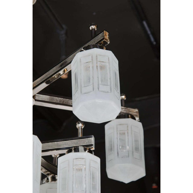 Early 20th Century Magnificent Art Deco Style Ten-Arm, Nine-Globe Chandelier in Polished Nickel For Sale - Image 5 of 10