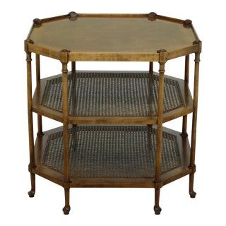 Baker Tiered Walnut Octagonal Occasional Table W. Cane For Sale