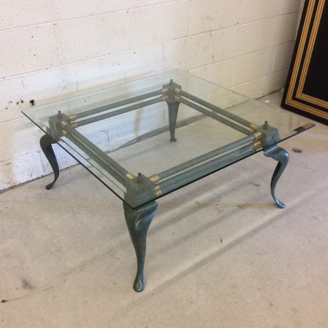 Blue Verdegris Iron Patina and Brass Cabriolet Coffee Table For Sale - Image 8 of 10