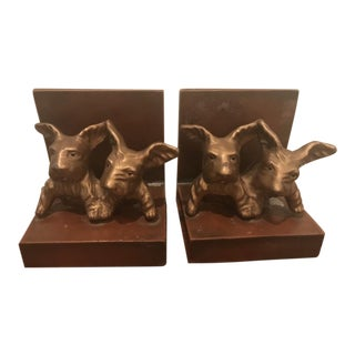 Art Deco Cast Metal Scottie Dog Bookends - A Pair