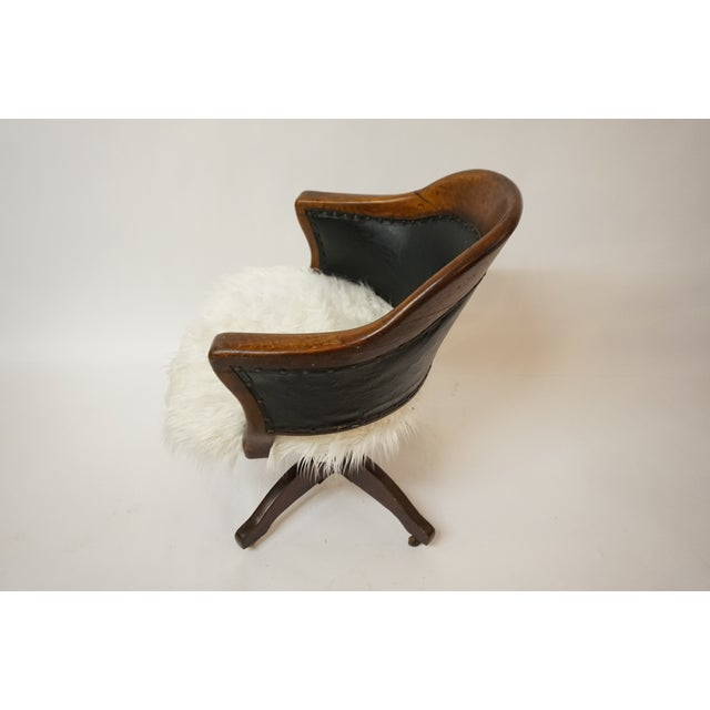 Antique Oak Bankers Swivel Chair With Mongolian Fur - Image 5 of 7