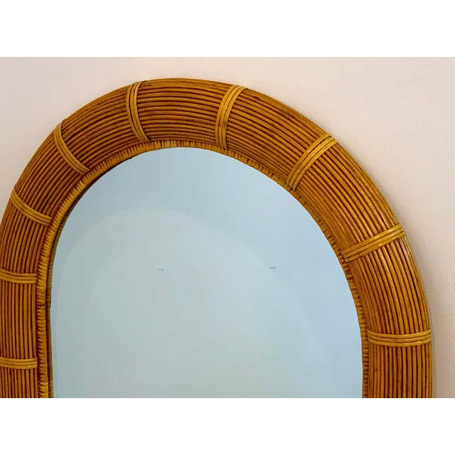 Midcentury Wrapped Pencil Reed Rattan Demilune Mirror For Sale - Image 4 of 7