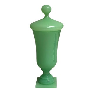 Vintage 1940s Green Opaline Lidded Vase For Sale
