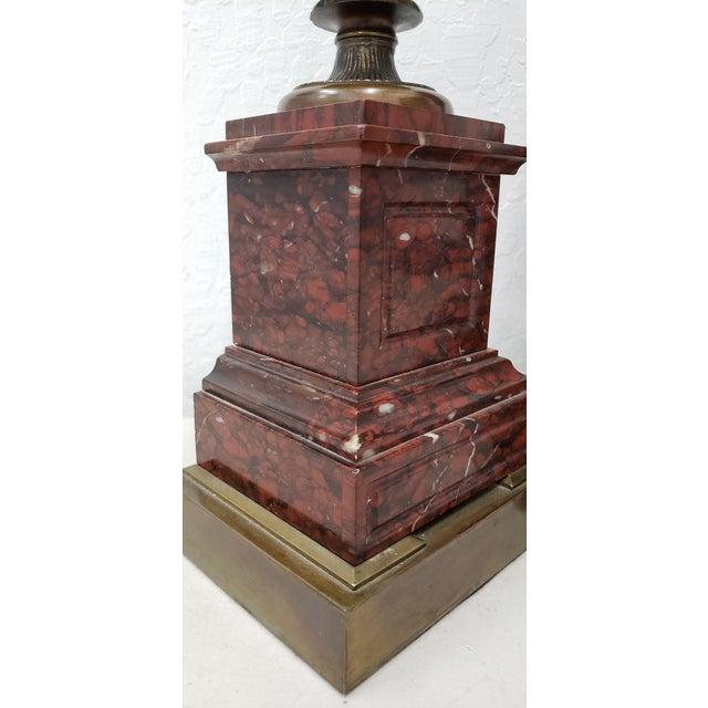 Gold Vintage Classical Roman Bronze Urns & Marble Table Lamps - a Pair For Sale - Image 8 of 11