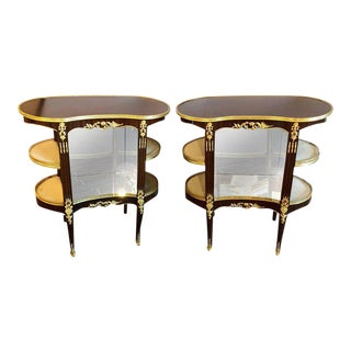 Louis XV Style Crotch Mahogany Vitrine Form End Tables or Night Tables - a Pair