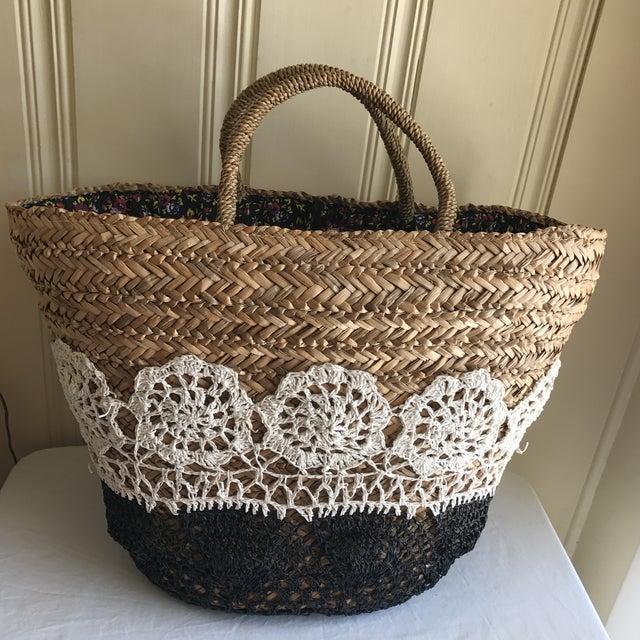 Large Boho Lined Jute Market Basket - Image 2 of 8