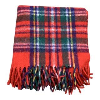 Vintage Plaid Wool Throw Blanket For Sale