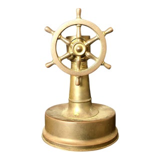 Antique Brass Ships Wheel Tabletop Cigar Cutter, Circa 1920 For Sale