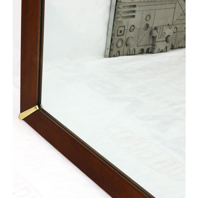 Mid-Century Modern Mid-Century Modern Walnut Frame With Brass Diamond Accents Wall Mirror For Sale - Image 3 of 8