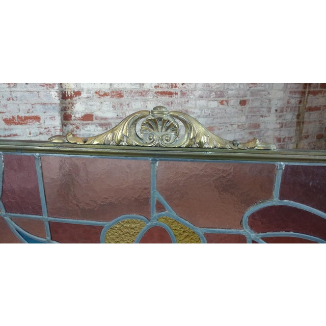 Gorgeous Art Nouveau Bronze & Stained Glass Fireplace screen For Sale - Image 4 of 12