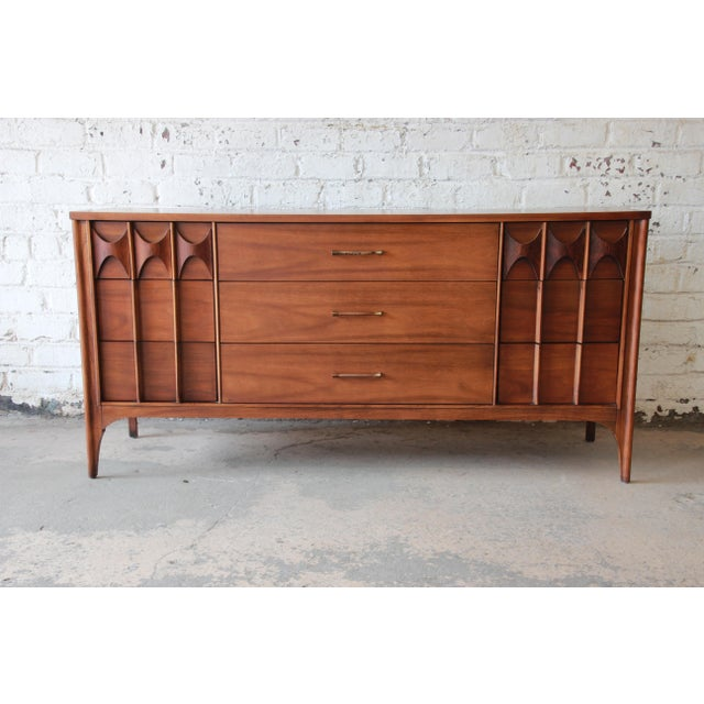 Kent Coffey Perspecta Sculpted Walnut and Rosewood Triple Dresser or Credenza For Sale - Image 11 of 11
