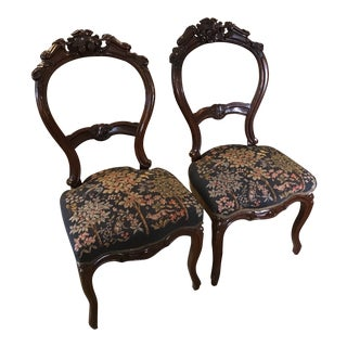 Victorian English Needlepoint Chairs - a Pair For Sale