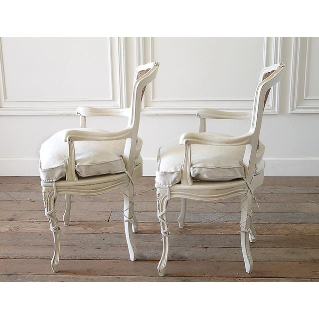 20th Century Vintage Painted Cane Back Open Arm Chairs- A Pair For Sale - Image 9 of 13