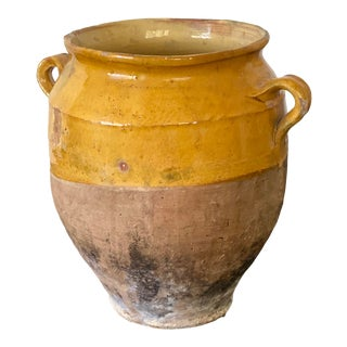 19th Century Antique French Confit Pot With Yellow Glaze For Sale