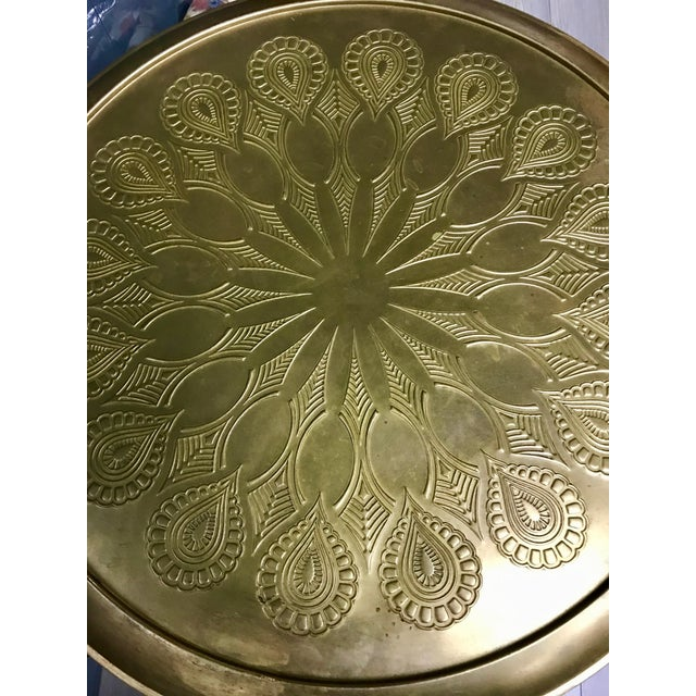 Brass 20th Century Moroccan Repousse Design Tray Table For Sale - Image 7 of 9