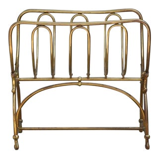 Mid Century Siegel Paris Solid Brass Fireplace Wood Rack For Sale