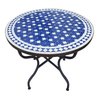Blue / White Moroccan Mosaic Table For Sale