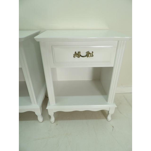 1990s French Provincial Style White Nightstands - a Pair For Sale - Image 5 of 8