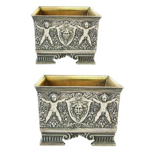 Mid 19th Century Vintage John Wendt n.y. Sterling Salt Cellars- a Pair For Sale