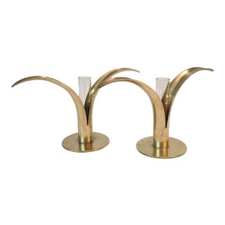 Swedish Ystad Metal Candle Holders or Bud Vases - a Pair For Sale