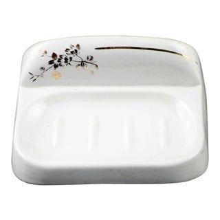 Antique White & Gold Floral Ceramic Surface Mount Soap Dish For Sale