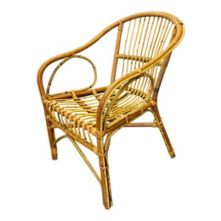 Vintage Bentwood Rattan Barrel Lounge Chair Boho For Sale