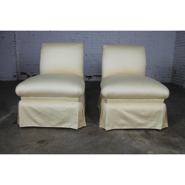 Donghia White Slipper Chairs - A Pair - Image 2 of 10