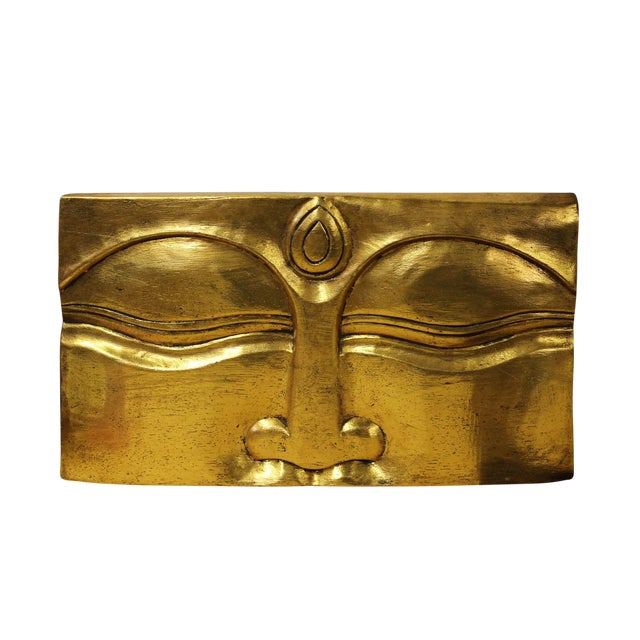Buddha's Eye Of Wisdom Gold Wood Craving Wall Decor For Sale