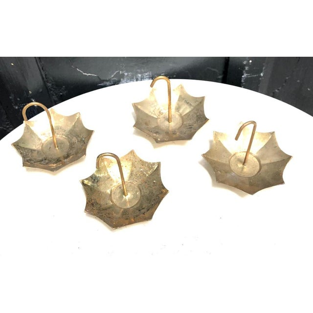 Vintage 1950s-60s La Vie brass umbrella mini ashtrays; set of four. Some minor patina to metal as visible in pics but...