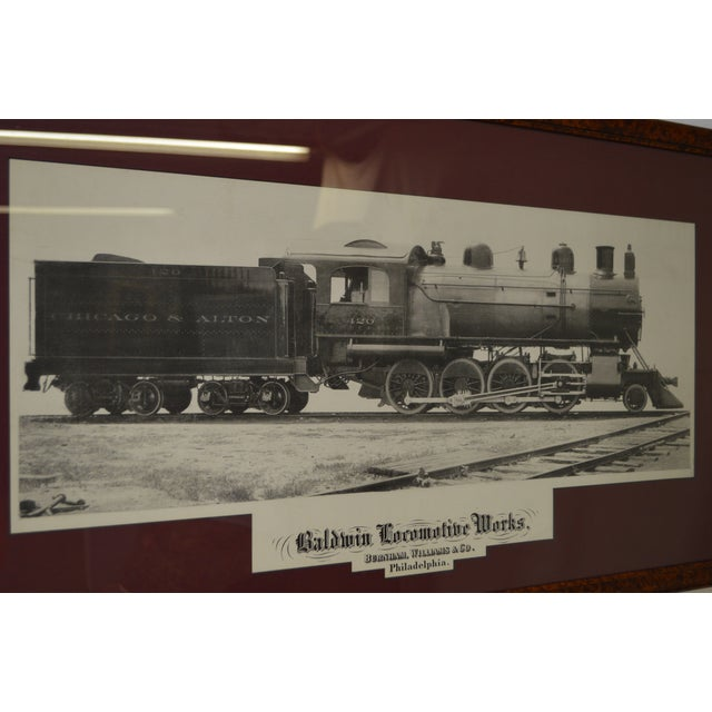 Wood Baldwin Locomotive Works Pair of Vintage Framed Train Prints For Sale - Image 7 of 11