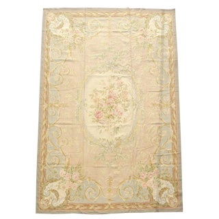 Aubusson Silk Floral Rug - 9′ × 11′10″ For Sale