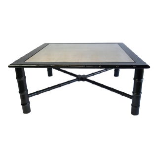 McGuire Style Bamboo and Rattan Glass Topped Coffee Table For Sale