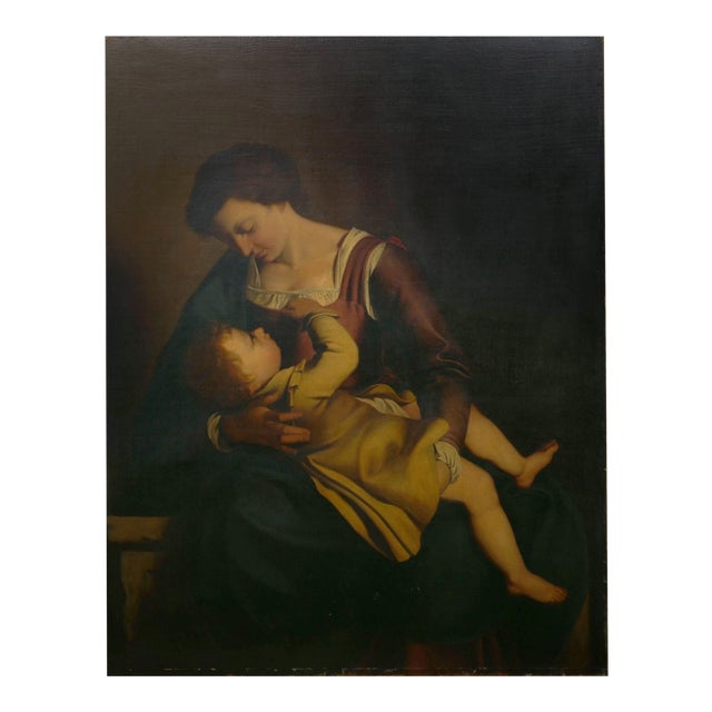 """Madonna & Child"" 19th Century Copyist Oil Painting After Orazio Gentileschi For Sale"