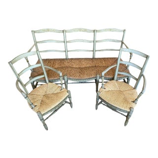 18th Century French Provincial Settee With Fauteuils - 3 Pieces For Sale