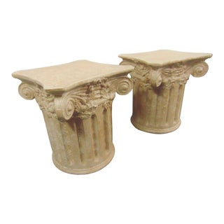 Greek Style Ionic Column Pedistal Side Tables - a Pair For Sale